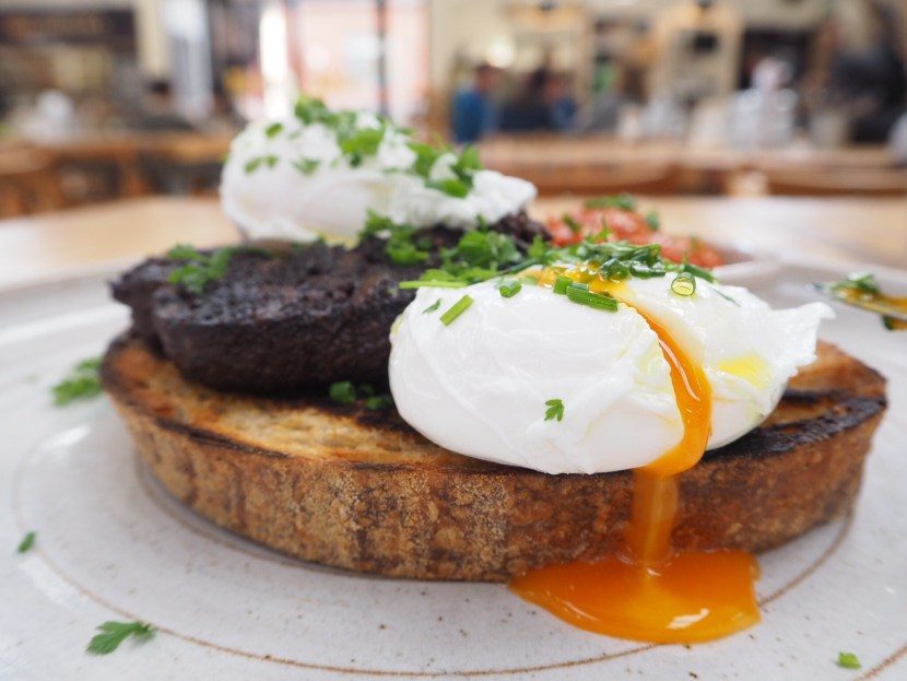 Brunch at Little Window poached eggs, black pudding