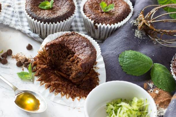 healthy chocolate courgette muffins