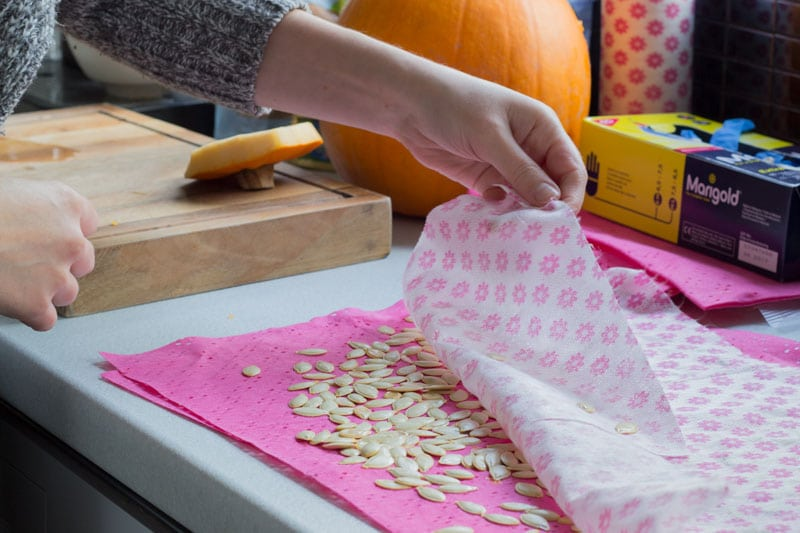 drying out pumpkin seeds