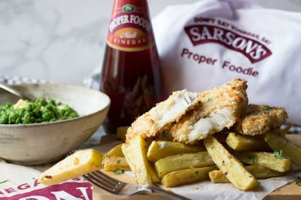 haddock in panko with sarsons