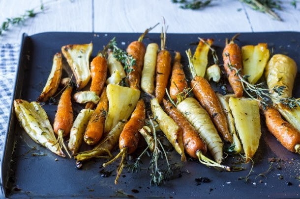 garlic and thyme carrots and parsnips