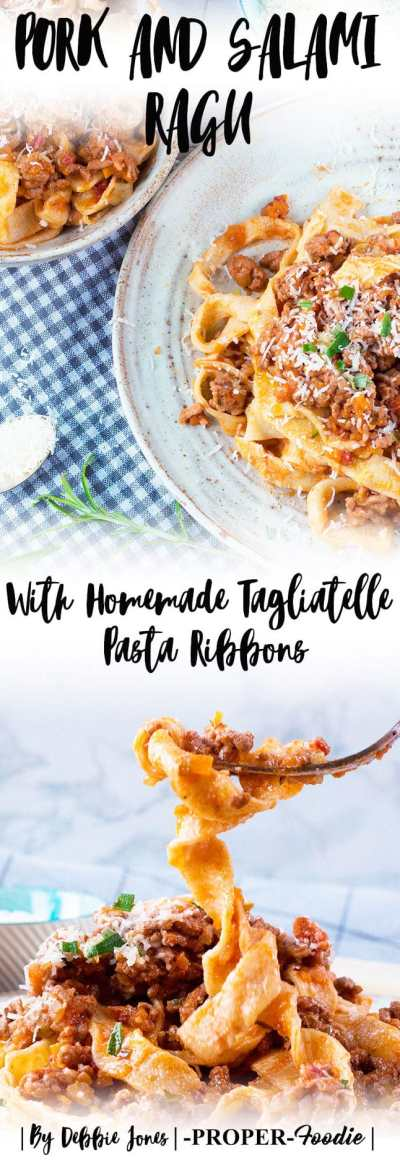 Salami and pork ragu with homemade tagliatelle pasta ribbons