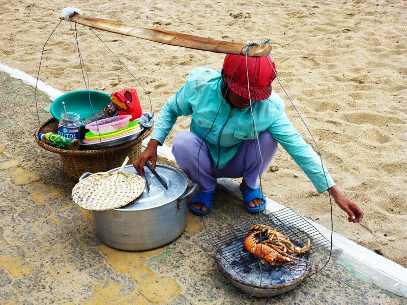 Vietnam street food lobster and crabs