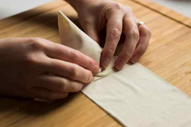 folding triangle filo mash potato parcels