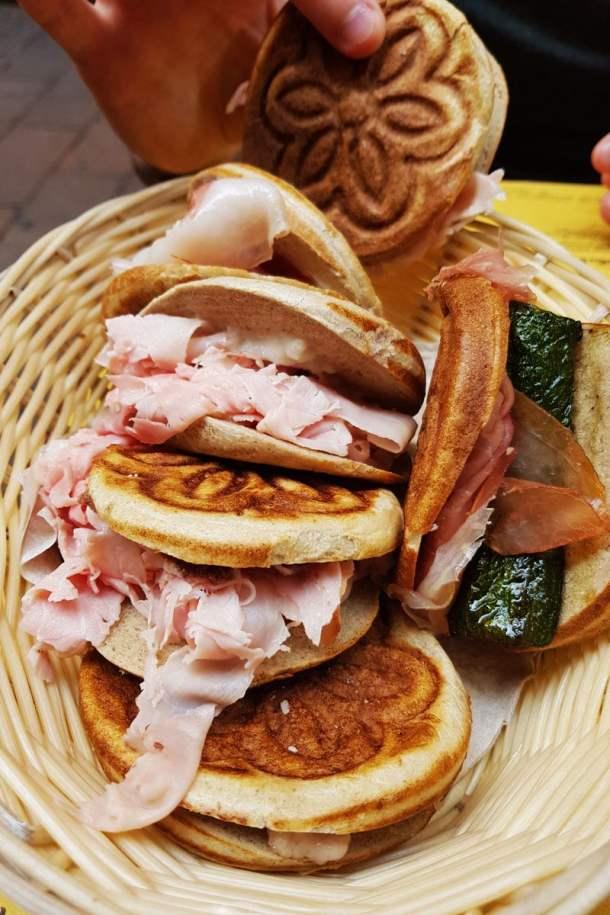 ham and cheese tigella in Bologna