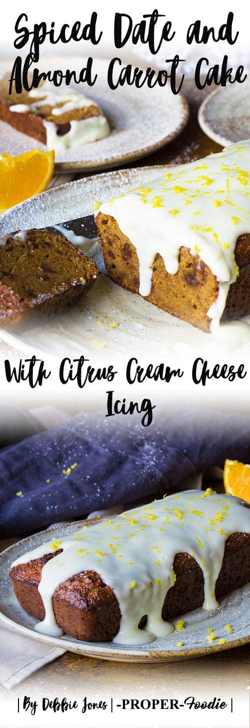 Spiced almond carrot cake with citrus cream cheese icing