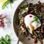 Giant wild rice salad with salmon