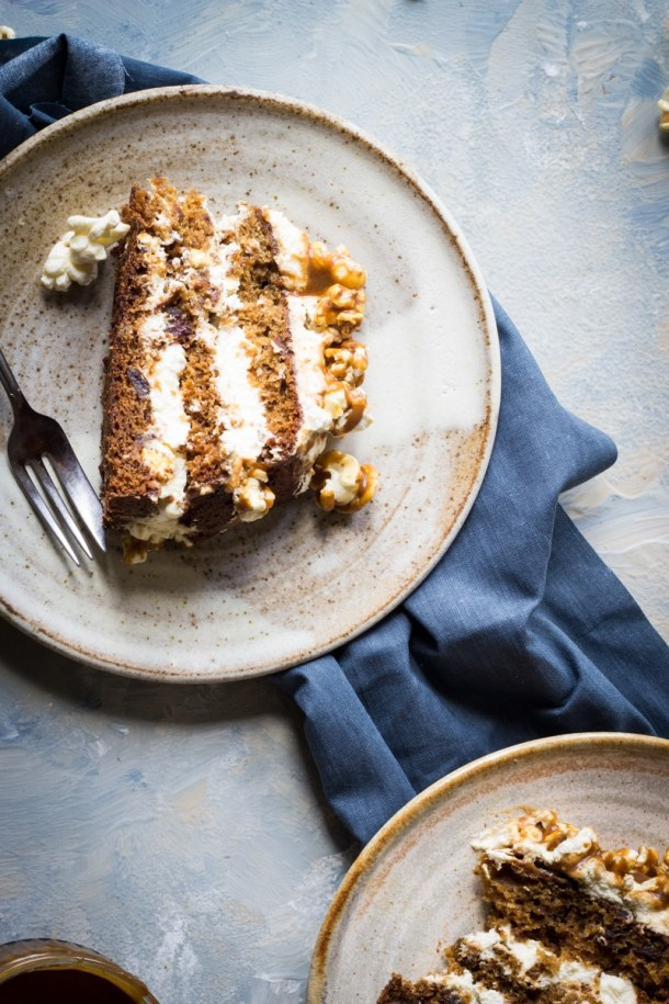 layered sticky toffee and cream cake with salted caramel popcorn