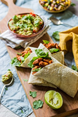 1 chicken wraps with beans and guacamole