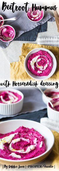 beetroot hummus with horseradish creme fraiche dressing