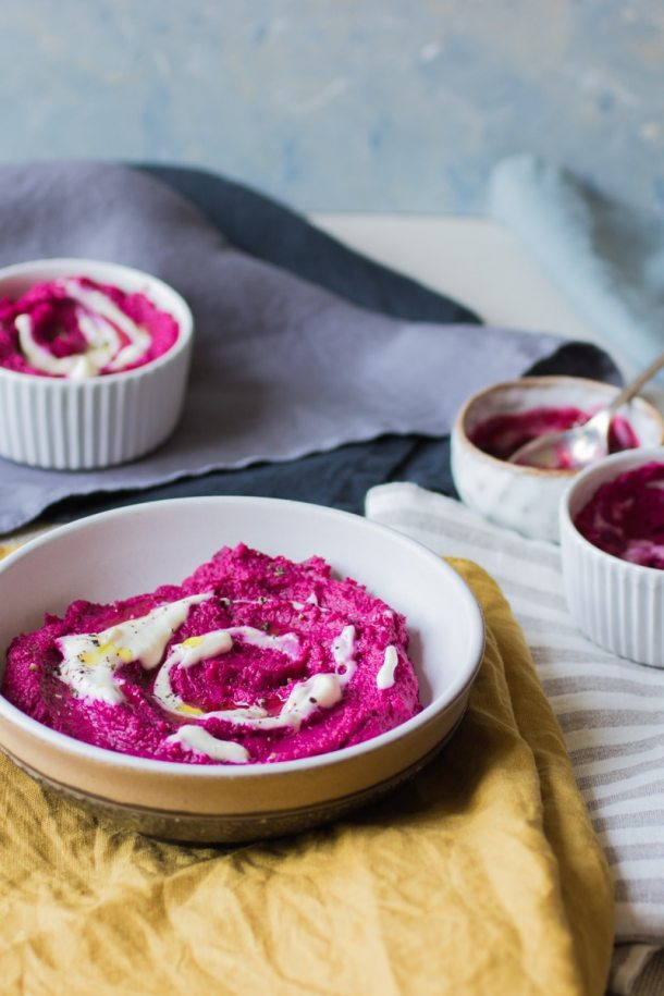 beetroot hummus with shredded beetroot
