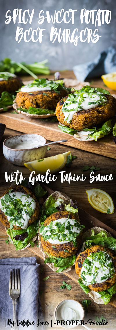 Spicy sweet potato beef burgers with garlic tahini sauce