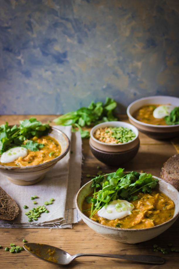 spicy chicken and split pea soup
