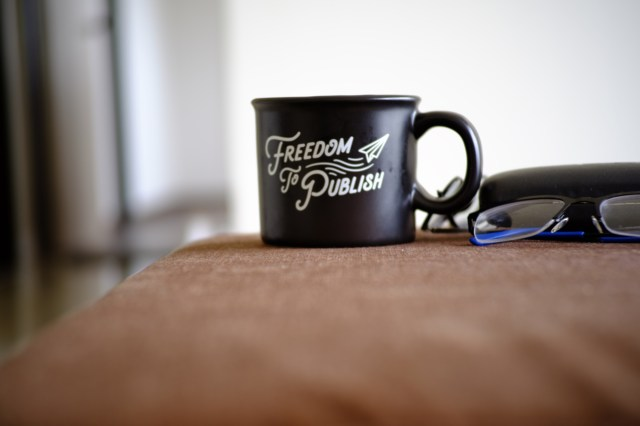 Coffee mug with the words 'Freedom to Publish' printed on it.