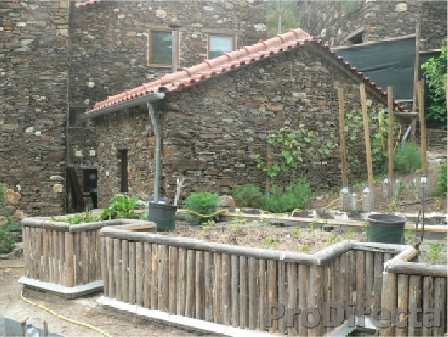 Schist Casita (Small Detached, Storage House with Boiler) and Wood Raised Beds for Gardening