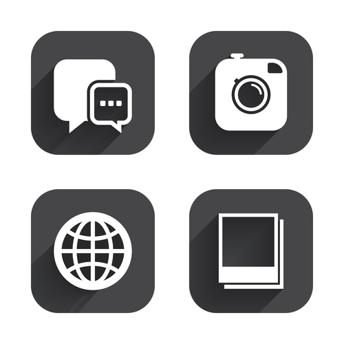 Black and White Social Media Icons