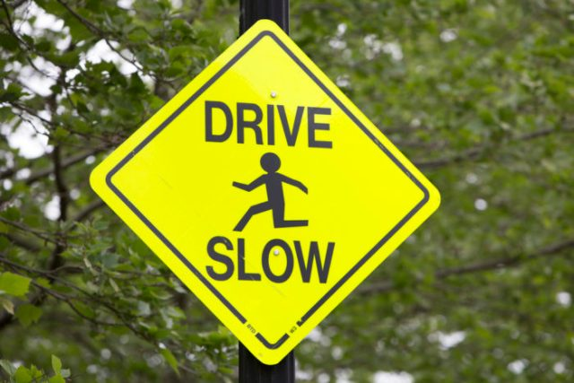 Slow Down Traffic Sign For Dealing With Speeders At Your Property