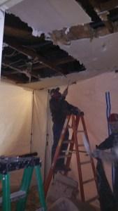 Extensive water damage restoration.