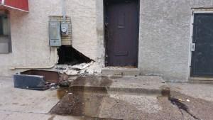 Building damage, automotive fluids and blood.