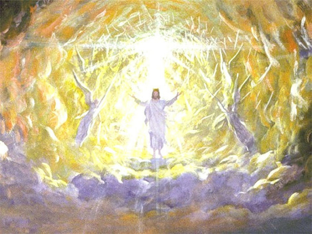 A colored illustration representing the Lord Jesus Christ descending from Heaven and believers being caught up in the clouds. Is the Rapture a good thing?