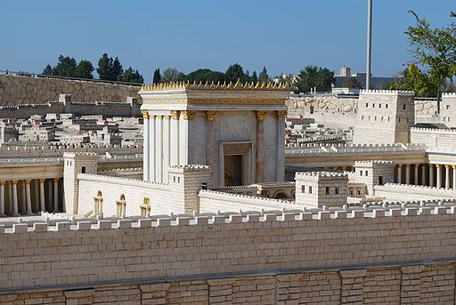 Colored photograph of a model of the second Jewish temple. White stone with gold trimming. Is the Rapture a good thing?