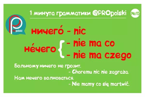 Одна минута грамматики ProPolski 15: ничего нечего