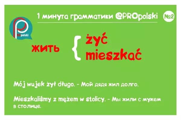 Одна минута грамматики ProPolski 2: жить
