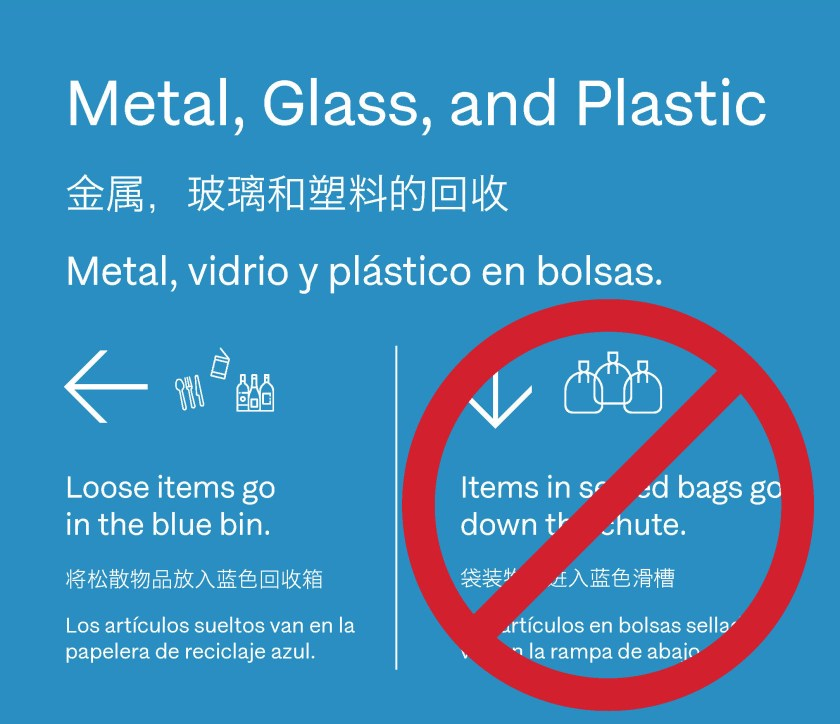 "Blue recycling signage design that says, ""Metal, Glass, and Plastic"". ""Loose items go in the bin."" with illustrations of bottles. ""Items in sealed bags go down the chute."" Crossed out with illustration of 3 plastic bags."