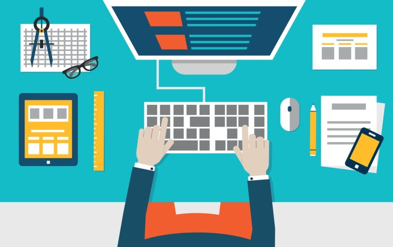 Vector flat illustration of process coding and programming mobile applications for devices. Design and programming - vector illustration