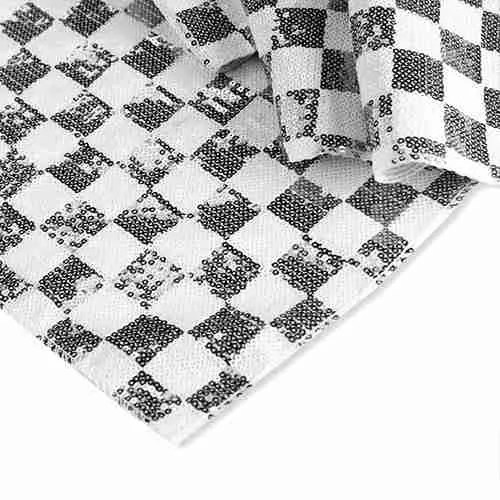 Chequered Sequin Backdrop White Black (1)