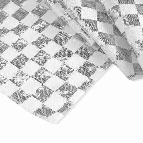 Chequered Sequin Backdrop White Silver (1)