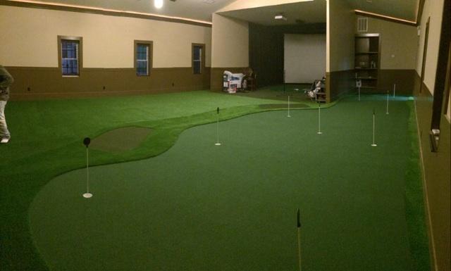 golf room in basement