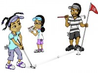 cartoon golfers