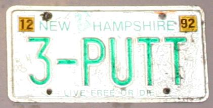 3 putt license plate, never 3 putt again