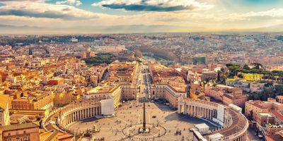 Saint,Peter's,Square,In,Vatican,And,Aerial,View,Of,Rome
