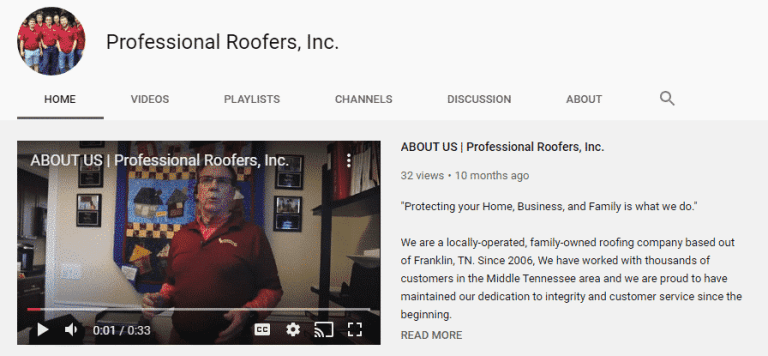 professional roofers inc youtube channel page