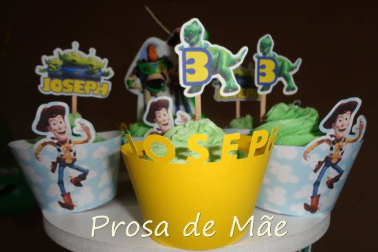 Festa Toy story, 3 anos, cupcakes, wrappers, toppers