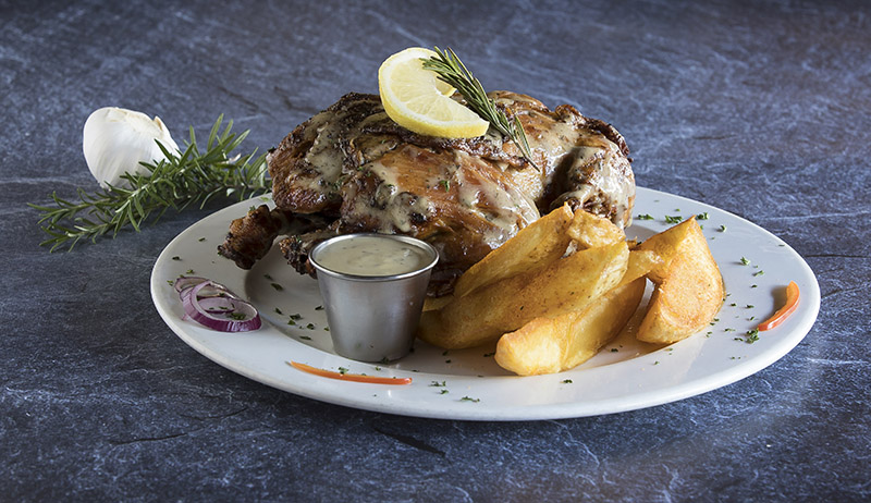 lemon and herb chicken and wedges_food photography