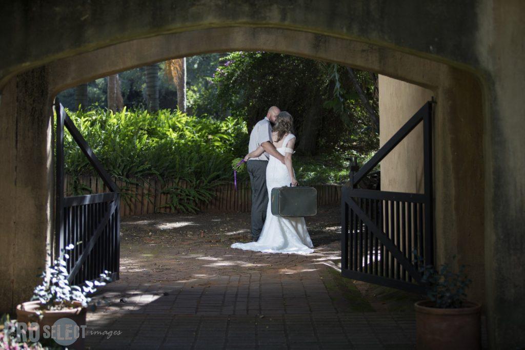 Wedding couple leaving for honeymoon