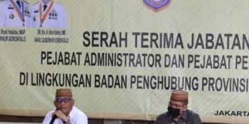 Gubernur Gorontalo Rusli Habibie saat menghadiri sertijab Kepala BPPG di Jakarta. Foto: istimewa