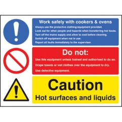 Kitchen Signs For Work Throw Rugs Washable Safely With Cookers And Ovens 5625 Proshield Safety