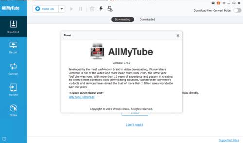 Wondershare AllMyTube 7.4.9.2 & Crack [Latest Version]