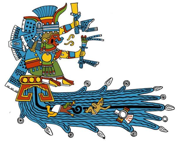 Chalchi, la più amata fra tutte le divinità dagli uomini per il suo amore e la sua misericordia,nell'atto di affogare gente a caso durante la Terza Apocalisse