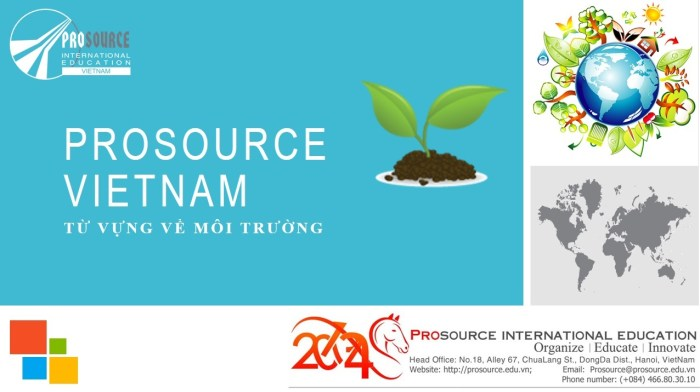 Prosource Việt Nam  Từ Vựng Tiếng Anh Về Môi Trường  Prosourceblog
