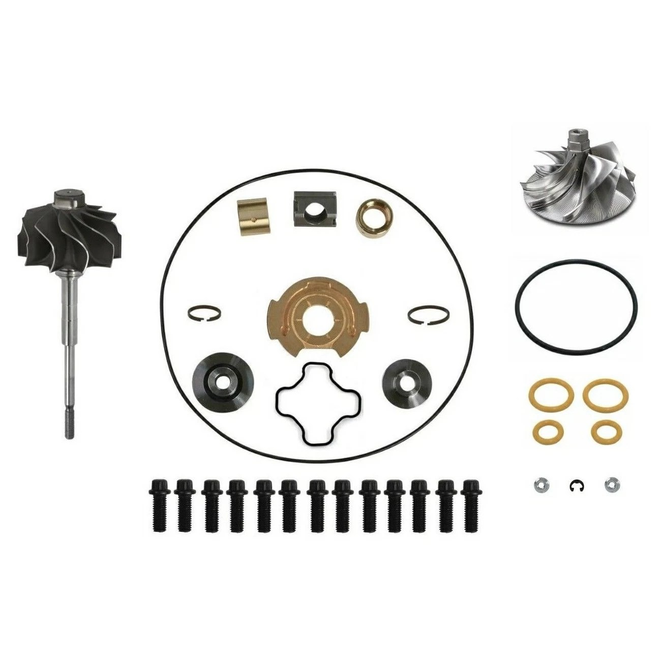 Spoologic Gtp38 Turbo Rebuild Kit Billet Wheel Shaft For