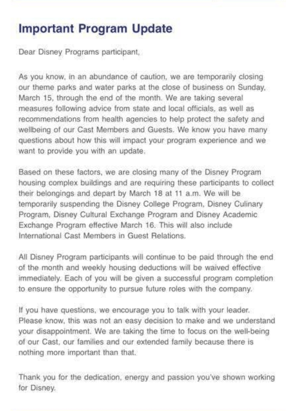 Disney College Program Suspension Email