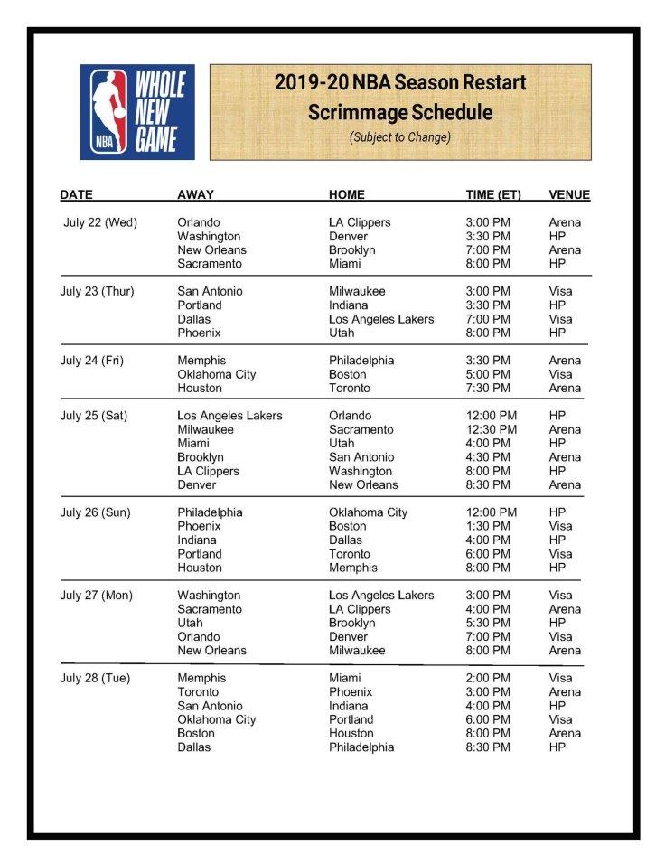 NBA SCRIMMAGES