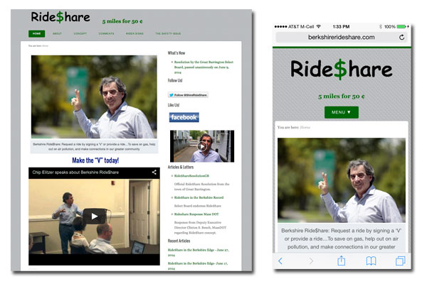 Berkshire Ride Share - Web Development - Social Media Integration, Mobile & Tablet Enabled