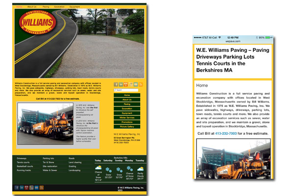 Williams Paving - Contractors: Web Development, Mobile and Tablet enabled