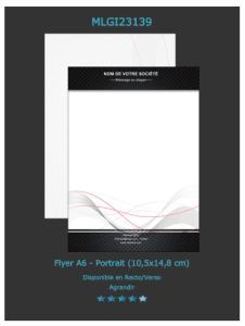 Modèle de flyer design que vous pouvez apercevoir et  personnaliser en ligne directement.